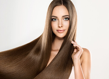 Model with straight, smooth, sleek long hair